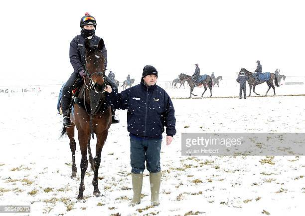 Trainer Alan King with Mille Chief at an open day day at his Barbury Castle Stables prior to The Cheltenham National Hunt Festival due to take place...