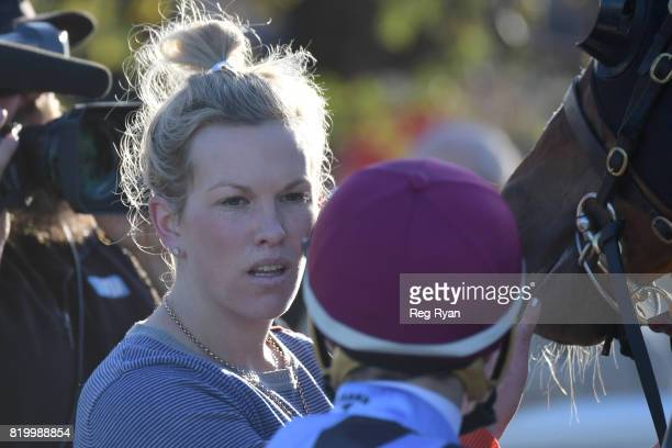 Trainer Amy Johnston after her horse Channing won the QBE Insurance Class 1 Handicap at Geelong Synthetic Racecourse on July 21 2017 in Geelong...
