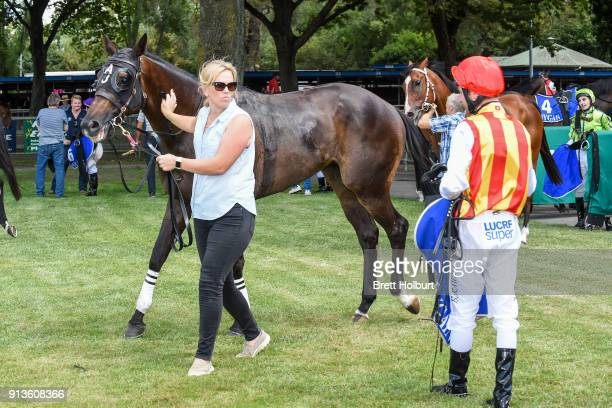 Trainer Amy Johnston after her horse I Taut I Saw won the KFNC 150th Anniversary Year 0 58 Handicap at Kyneton Racecourse on February 03 2018 in...