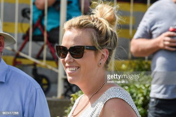Trainer Amy Johnston after her horse Skyfire won the Kingsgate Village 0 58 Handicap at Kilmore Racecourse on January 08 2018 in Kilmore Australia