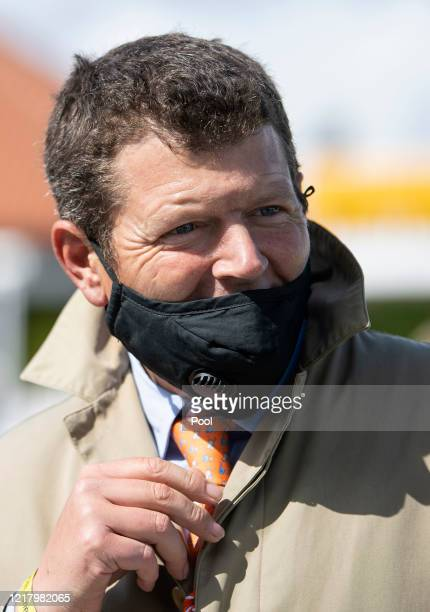 Trainer Andrew Balding looks on after Kameko's win in the Qipco 2000 Guineas at Newmarket Racecourse on June 06 2020 in Newmarket England
