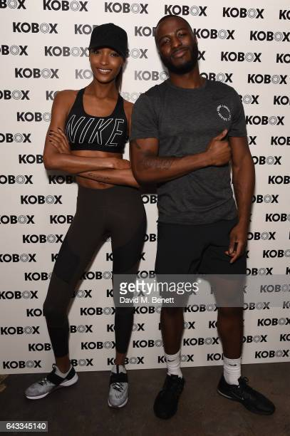 Trainer Antoine Dunn and sister Jourdan Dunn kick of the KOBOX city studio with a boxing workout on February 21 2017 in London England