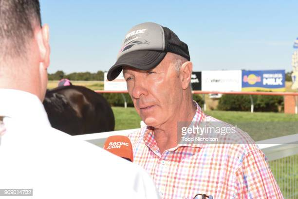 Trainer Bill Wilde after his horse Duecourse won the Njt20cricketcomau Rising Stars Race BM64 Handicap at Terang Racecourse on January 23 2018 in...