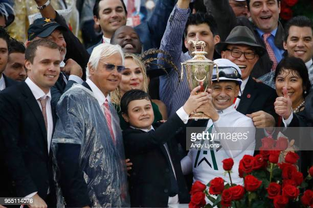Trainer Bob Baffert and jockey Mike Smith celebrate after winning the 144th running of the Kentucky Derby at Churchill Downs on May 5, 2018 in...