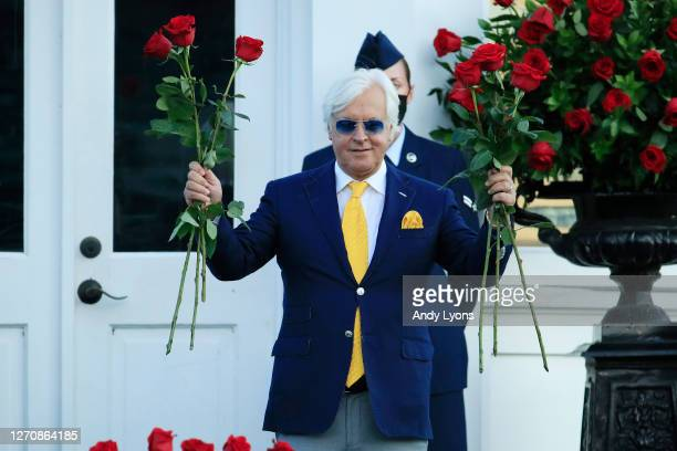 Trainer Bob Baffert celebrates after Authentic won the 146th running of the Kentucky Derby at Churchill Downs on September 05, 2020 in Louisville,...