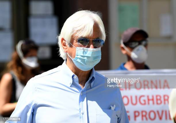 Trainer Bob Baffert joins horse racing industry workers call to re-open Santa Anita Track in front of the offices of the Board of Supervisors of Los...