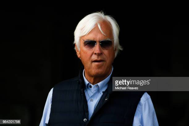 Trainer Bob Baffert looks on from the barn prior to morning workouts for the Kentucky Derby at Churchill Downs on May 3, 2018 in Louisville, Kentucky.