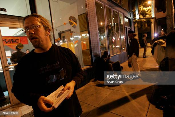 DOPE trainer Bob Thawley hands out information on needle echanges outside the Tenderloin AIDS Resource Center in San Francisco The city has...