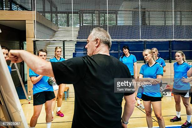 Trainer briefing his female handball team