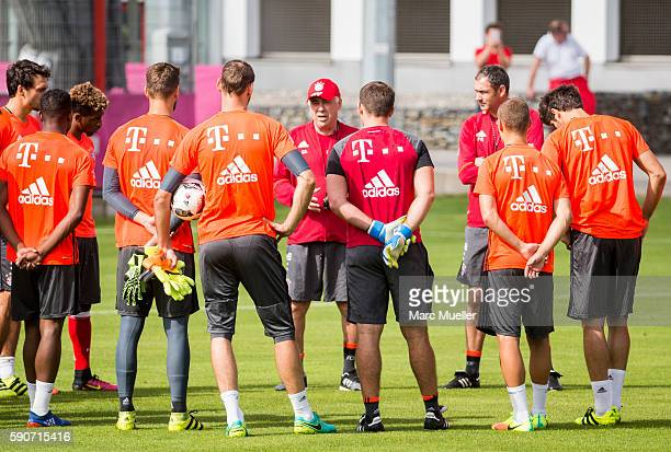 Trainer Carlo Ancelotti of FC Bayern Munich is seen during an training session on August 17 2016 in Munich Germany