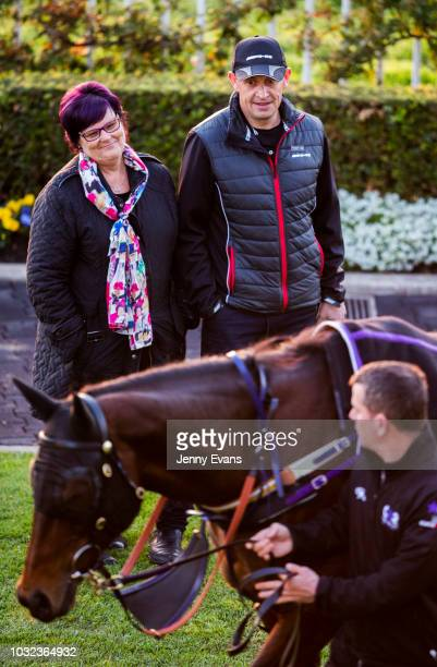Trainer Chris Waller and Winx part owner Debbie Kepitis look on during a trackwork session at Rosehill Gardens on September 13 2018 in Sydney...