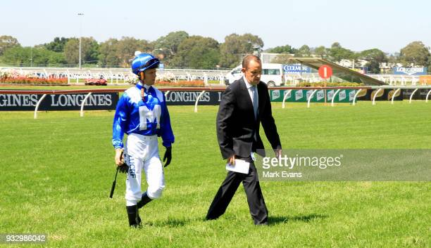 Trainer Chris Waller on the track with Kerrin McEvoy before Winx had an exhibition gallop during Sydney Racing at Rosehill Gardens on March 17 2018...
