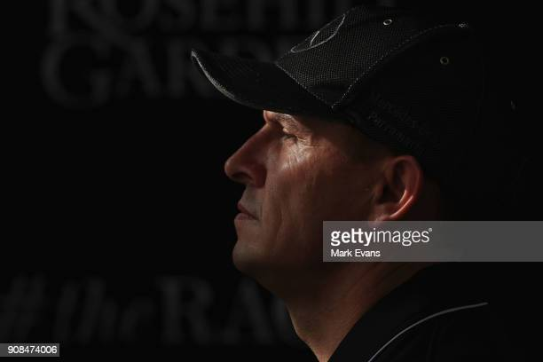 Trainer Chris Waller speaks during a press conference after his horse Winx had completed a barrier trial at Rosehill Gardens on January 22 2018 in...
