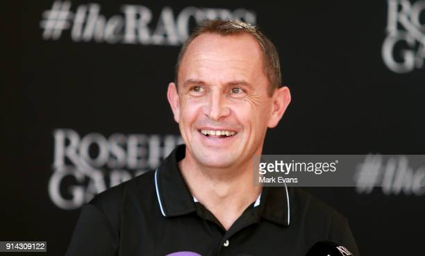 Trainer Chris Waller speaks during a press conference after Winx competed in a barrier trial at Rosehill Gardens on February 5 2018 in Sydney...