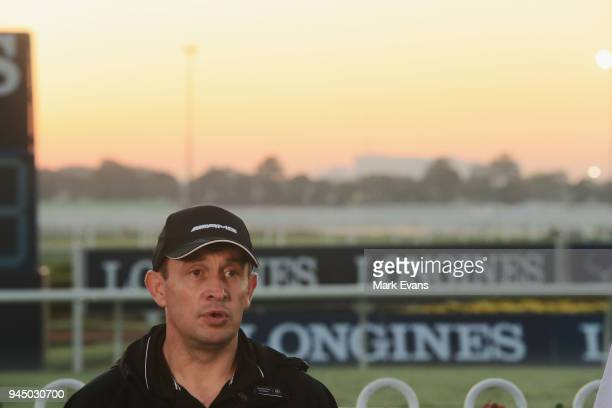 Trainer Chris Waller speaks to the media after watching Winx during a trackwork session at Rosehill Gardens on April 12 2018 in Sydney Australia