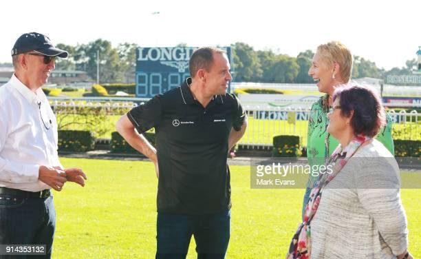 Trainer Chris Waller talks to Winx's owners after Winx competed in a barrier trial at Rosehill Gardens on February 5 2018 in Sydney Australia