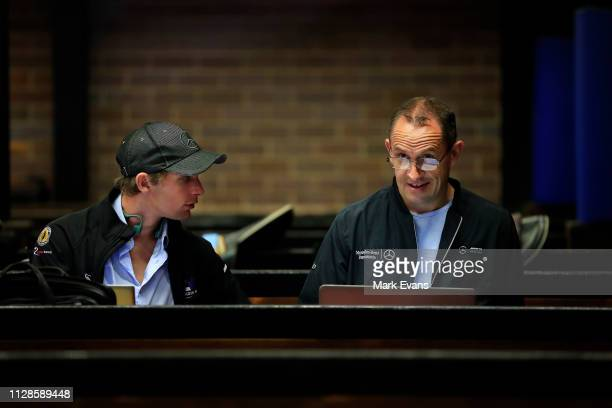 Trainer Chris Waller with his Racing Manager Charlie Duckworth in the race stalls at Randwick as Winx prepares for an exhibition gallop at Royal...