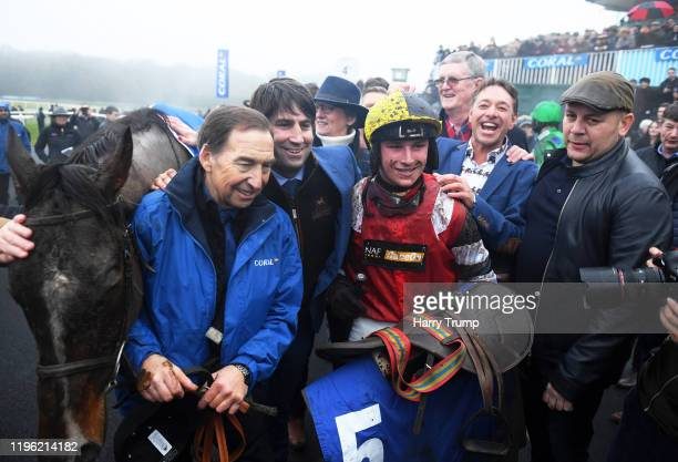 Trainer Christian Williams and Jockey Jack Tudor celebrate after winning the Welsh Grand National at Chepstow Racecourse on December 27, 2019 in...