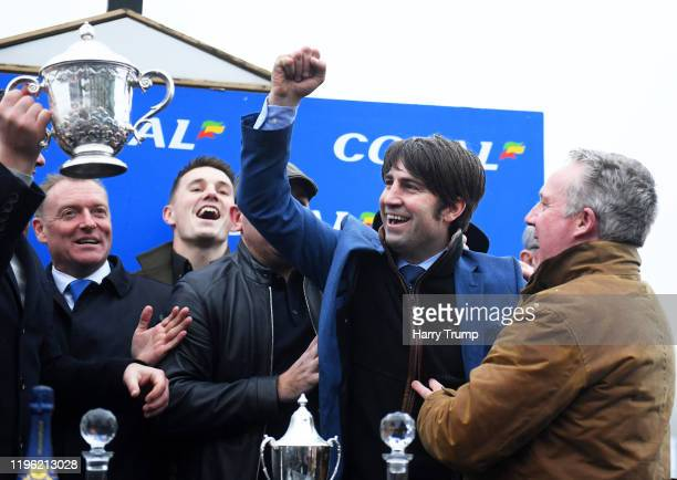 Trainer Christian Williams celebrates after winning the Coral Welsh Grand National Handicap Chase with Potters Corner at Chepstow Racecourse on...