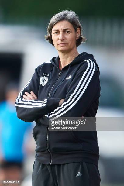 Trainer coach Anouschka Bernhard from Germany looks on during the UEFA Under17 Girls European Championship match between Lithuania U17 and Germany...