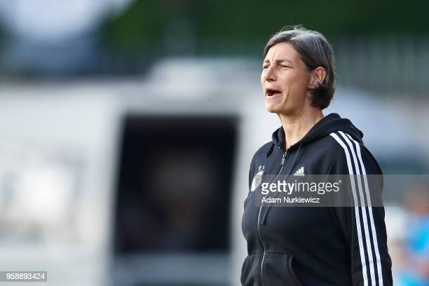 Trainer coach Anouschka Bernhard from Germany shouts during the UEFA Under17 Girls European Championship match between Lithuania U17 and Germany U17...
