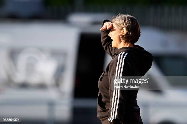 Trainer coach Anouschka Bernhard from Germany watches on during the UEFA Under17 Girls European Championship match between Lithuania U17 and Germany...