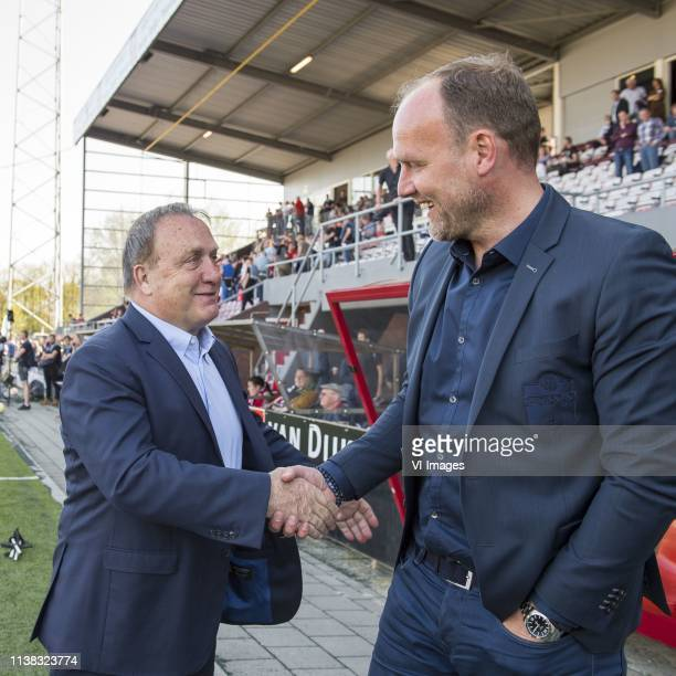 trainer/ coach Dick Advocaat of FC Utrecht trainer/coach Dick Lukkien of FC Emmen during the Dutch Eredivisie match between FC Emmen and FC Utrecht...