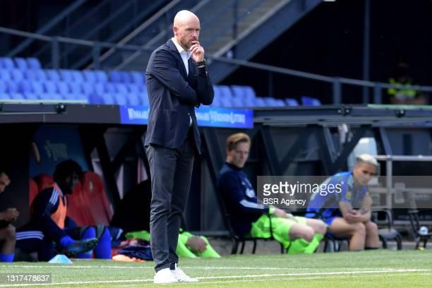 Trainer coach Erik ten Hag of Ajax during the Dutch Eredivisie match between Feyenoord and Ajax at de Kuip on May 9, 2021 in Rotterdam, Netherlands