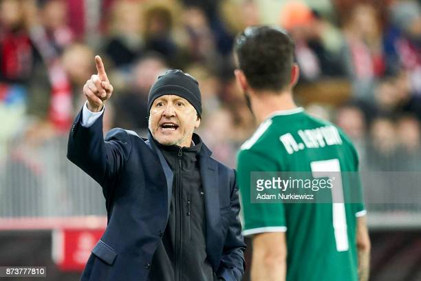 Trainer coach Juan Carlos Osorio from Mexico gestures while Poland v Mexico International Friendly soccer match at Energa Arena Stadium on November...