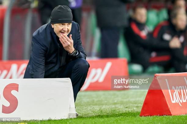 Trainer coach Juan Carlos Osorio of Mexico gestures during the International Friendly match between Poland and Mexico at Energa Arena Stadium on...