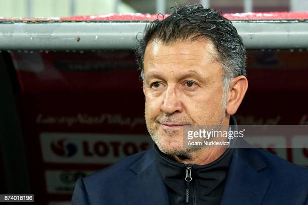 Trainer coach Juan Carlos Osorio of Mexico looks forward during the International Friendly match between Poland and Mexico at Energa Arena Stadium on...