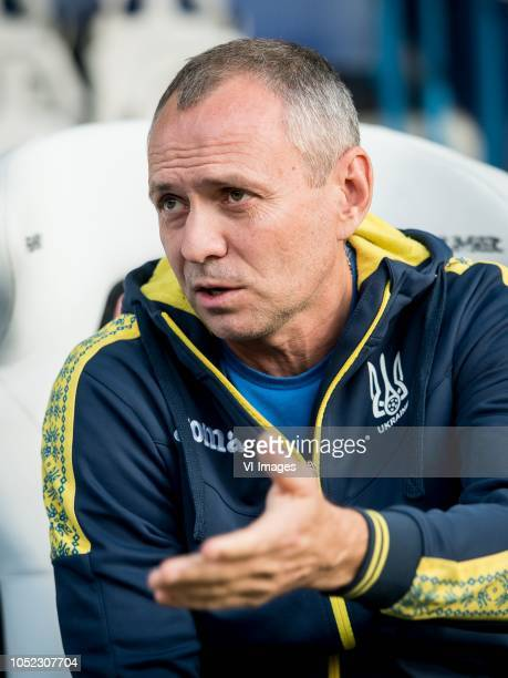 trainer coach Oleksandr Holovko of Ukraine u21 during the EURO U21 2019 qualifying match between The Netherlands U21 and Ukraine U21 at the...