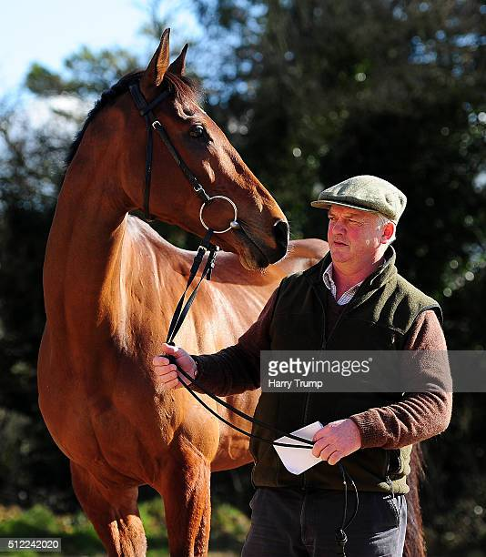 Trainer Colin Tizzard poses with Cue Card at Spurles Farm on February 25 2016 in Sherborne England