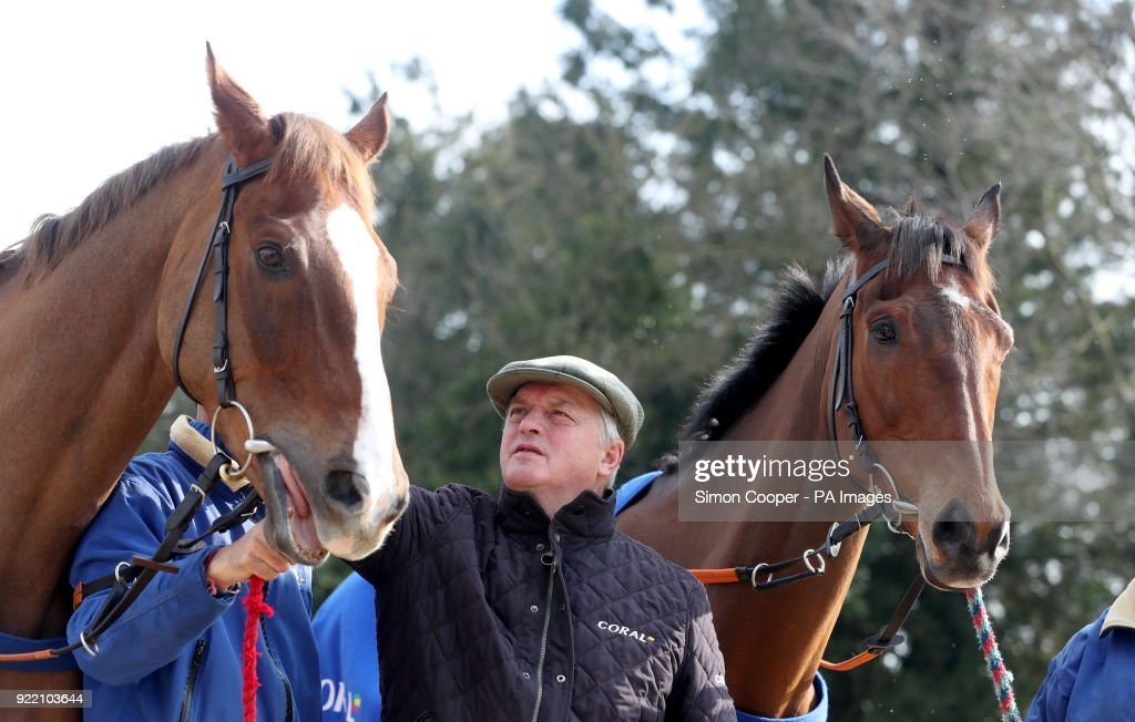 Trainer Colin Tizzard poses with Native River (left) and Cue Card during the stable visit to Colin Tizzard's yard at Milborne Port, Somerset.