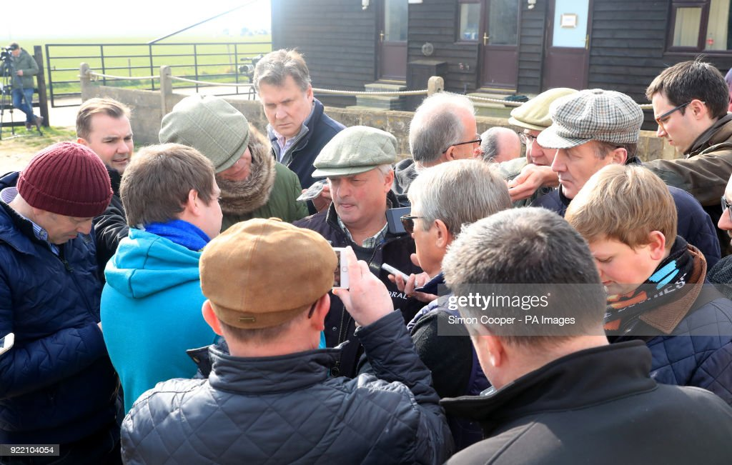 Trainer Colin Tizzard speaks to members of the media during the stable visit to Colin Tizzard's yard at Milborne Port, Somerset.