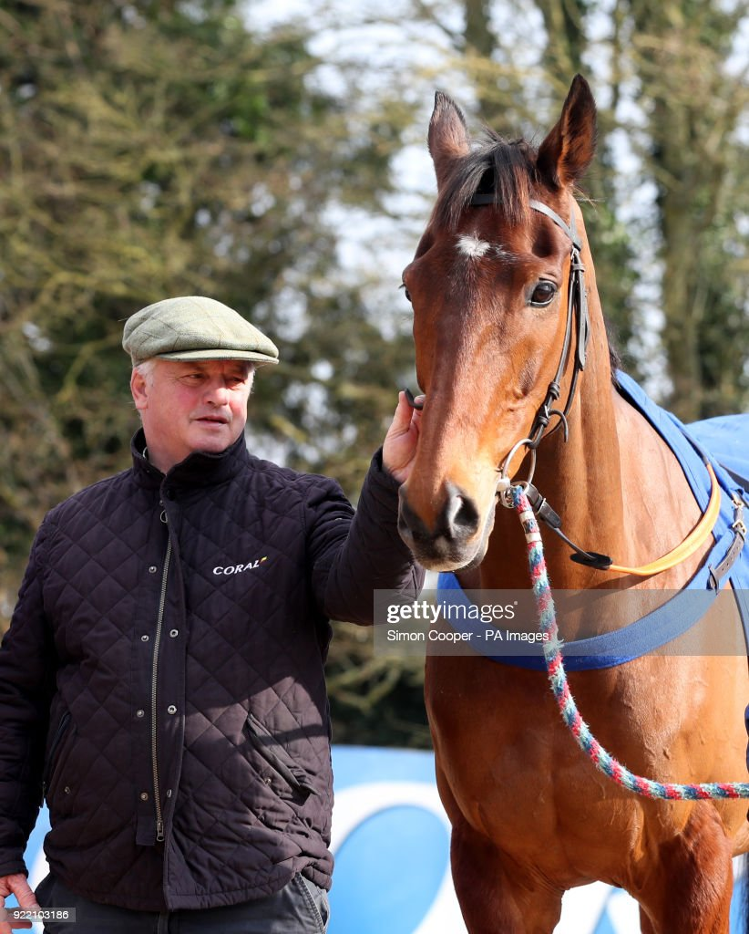 Trainer Colin Tizzard with Cue Card during the stable visit to Colin Tizzard's yard at Milborne Port, Somerset.