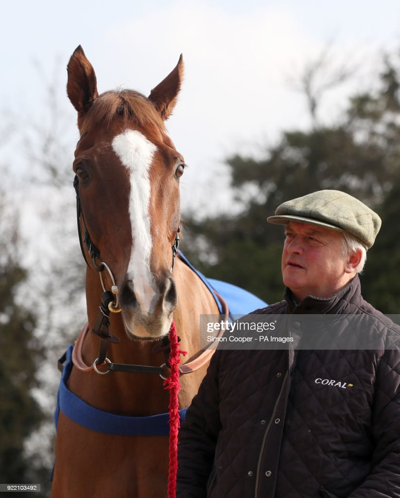 Trainer Colin Tizzard with Native River during the stable visit to Colin Tizzard's yard at Milborne Port, Somerset.