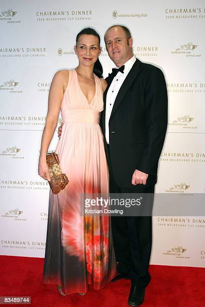 Trainer Danny O'Brien and wife Nina arrive for the Victorian Racing Clubs Chairman's Dinner in the Atrium at Flemington Racecourse on October 30 2008...