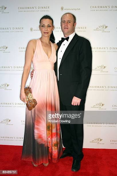 Trainer Danny O'Brien and wife Nina arrives for the Victorian Racing Clubs Chairman's Dinner in the Atrium at Flemington Racecourse on October 30...