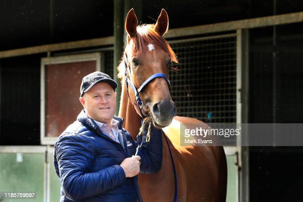 Trainer Danny O'Brien poses with Vow And Declare during the Melbourne Cup Winning media opportunity at Danny O'Brien Racing's Stables on November 06,...