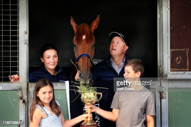 Trainer Danny O'Brien with wife Nina and kids Grace and Thomas pose with Vow And Declare during the Melbourne Cup Winning media opportunity at Danny...