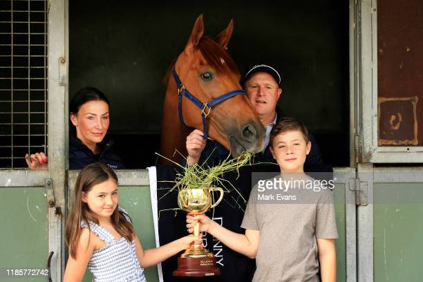 Trainer Danny O'Brien with wife Nina and kids Grace and Thomas, pose with Vow And Declare during the Melbourne Cup Winning media opportunity at Danny...