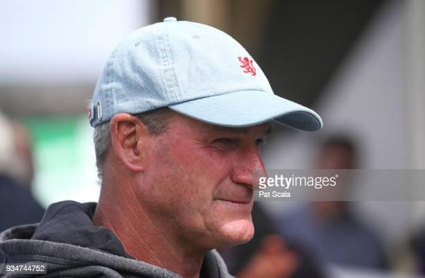 Trainer Darren Weir after his horse Hawkshot won Magnum Equine 2YO Maiden Plateat SportsbetBallarat Racecourse on March 20 2018 in Ballarat Australia