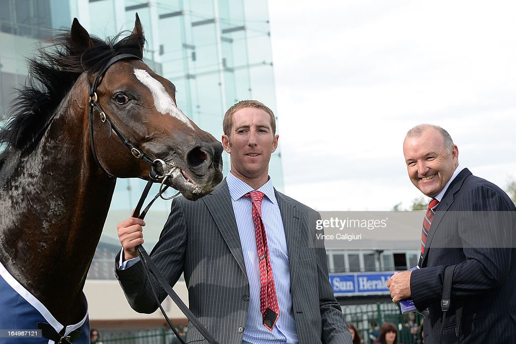 Trainer David Hayes (R) after Jet Away won the Le Pine Funerals Easter Cup during Melbourne Racing at Caulfield Racecourse on March 30, 2013 in Melbourne, Australia.