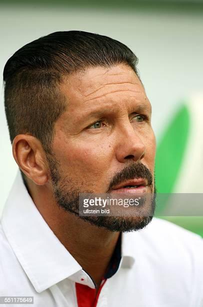 Trainer Diego Simeone, Aktion, Portrait Portraet Porträt, Einzelbild , Atletico Madrid, Testspiel Freundschaftsspiel, Spanien Primera DivisionL,...