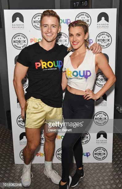 Trainer Doug Fordyce and Ashley Roberts lead a special charity KOBOX class in aid of Proud partner Rainbow Railroad at KOBOX City on August 11 2018...