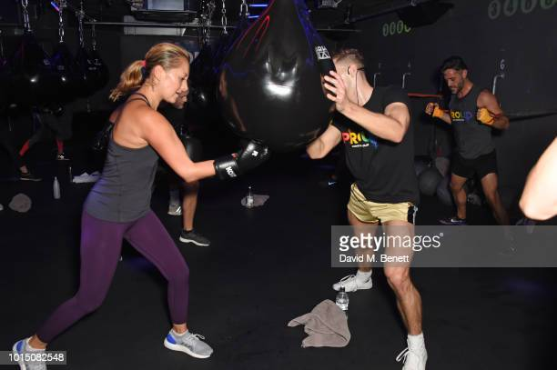 KOBOX trainer Doug Fordyce leads a special charity KOBOX class with Ashley Roberts in aid of Proud partner Rainbow Railroad at KOBOX City on August...