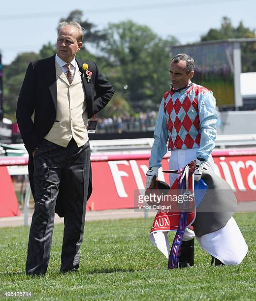 Trainer Ed Dunlop and Gerald Mosse are emotional after Red Cadeaux broke down in race 7 the Emirates Melbourne Cup on Melbourne Cup Day at Flemington...