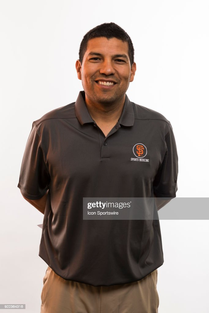 Trainer Eric Ortega poses for a photo during the San Francisco Giants photo day on Tuesday, Feb. 20, 2018 at Scottsdale Stadium in Scottsdale, Ariz.