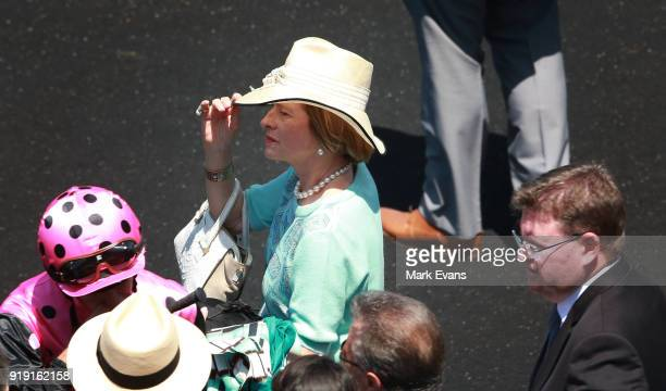 Trainer Gai Waterhouse after her horse Santos won race 2 on Apollo Stakes Day at Royal Randwick Racecourse on February 17 2018 in Sydney Australia